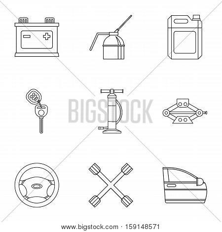 Renovation for machine icons set. Outline illustration of 9 renovation for machine vector icons for web