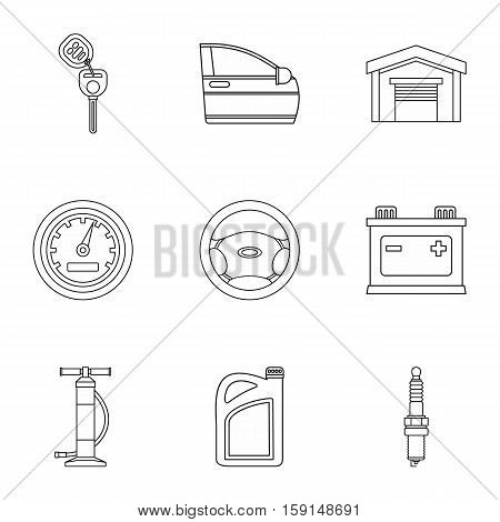 Garage icons set. Outline illustration of 9 garage vector icons for web