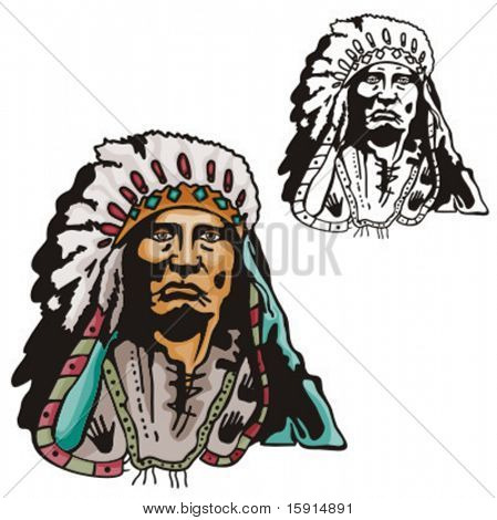 Illustration of an indian chief.