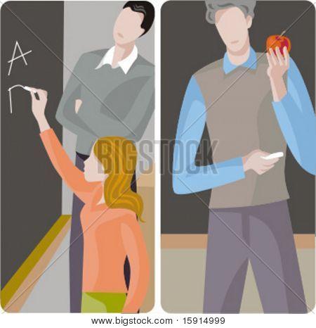Teacher illustrations series.  1) An elementary school teacher and a student girl, writing alphabet on a blackboard. 2) General classes school teacher teaching a class in a classroom.