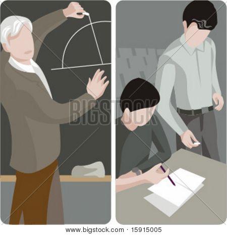 Teacher illustrations series.  1) Math teacher writing on a blackboard in a classroom. 2) General classes school teacher looking at student work in a classroom.