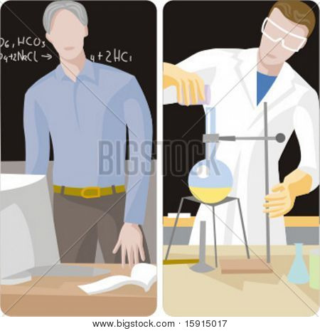Teacher illustrations series.  1) Chemistry teacher working with computer in a classroom. 2) Chemistry teacher performing an experiment in a classroom.