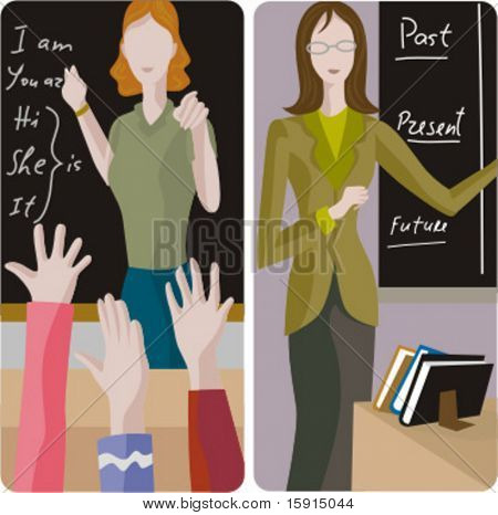 Teacher illustrations series.  1) Elementary class teacher examining a students. 2) English teacher teaching a grammar in a classroom.