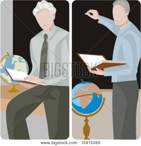 Teacher illustrations series.  1) Geography teacher teaching a class in a class room. 2) Geography teacher teaching a class and writing on a blackboard in a classroom.