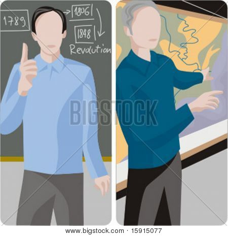 Teacher illustrations series.  1) History teacher teaching a class in a classroom. 2) History teacher teaching a class and pointing at a map in a classroom.