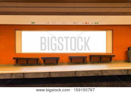 White Isolated Subway Ad Space Advertisement Billboard Lightbox Interior Orange Empty Station