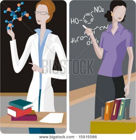 Lehrer-Illustrationen-Serie.  1) Chemie Lehrer einer Klasse. 2) Chemie Lehrer