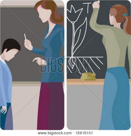 Lehrer-Illustrationen-Serie. 1) Volksschullehrer untersucht ein Student-junge. 2) Biologie Lehrer writi