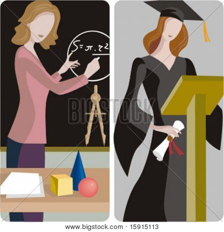 Teacher illustrations series. 1) Math teacher solving a mathematical problem on a blackboard in a classroom. 2) Graduating student holding a diploma.