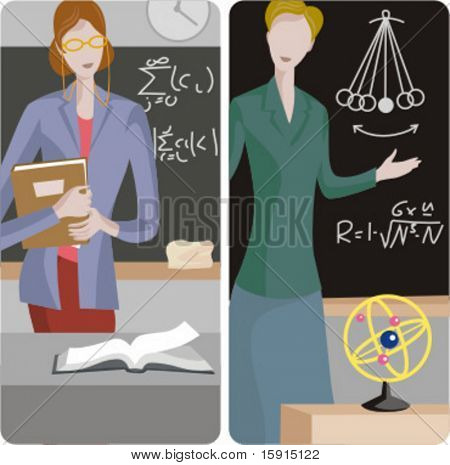 Teacher illustrations series 1) Math teacher teaching a class 2) Physicist teacher teaching a class