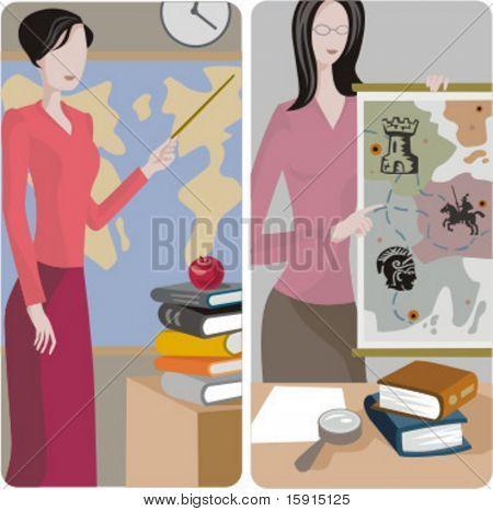 Teacher illustrations series. 1) History \ Geography teacher teaching a class in a classroom. 2) History teacher teaching a class in a classroom.