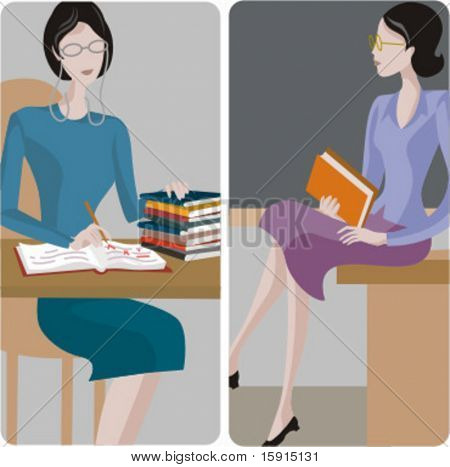 Teacher illustrations series. 1) General classes teacher examining the students tests in a classroom. 2) General classes teacher sitting on a desk in a classroom.