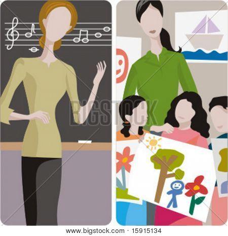 Lehrer-Illustrationen-Serie. 1) Musiklehrer Lehre eine Lehre in einem Klassenzimmer. 2) Kunstlehrer und