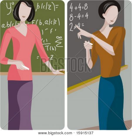 Teacher illustrations series. 1) Math teacher solving a mathematical problem on a blackboard. 2) Elementary teacher teaching math in a classroom.