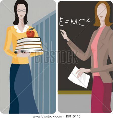 Teacher illustrations series. 1) General classes teacher. 2) Math teacher teaching a mathematical formula in a classroom.