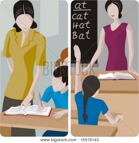 Serie de ilustraciones del maestro. 1) Profesor elemental contemplando una obra de los estudiantes. 2) Ind elementary