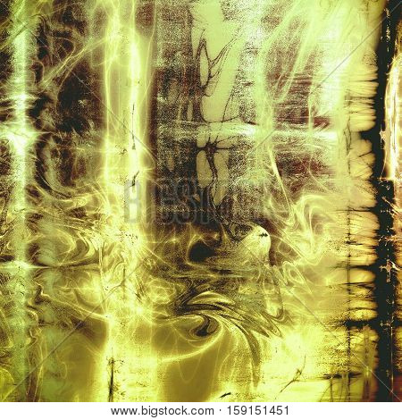 Scratched background with retro style overlay. Aged texture with different color patterns: yellow (beige); brown; gray; black; white