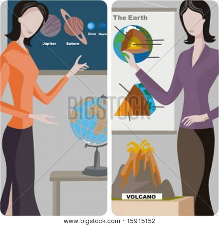 Teacher illustrations series.  1) Astronomy teacher teaching a class in a classroom. 2) Geography teacher teaching a lesson in a classroom.