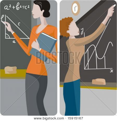 Teacher illustrations series.  1) Math teacher solving a mathematical problem on a blackboard. 2) Math teacher writing on a blackboard.