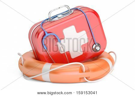 First Aid Kit and Life buoy. First Aid concept 3D rendering