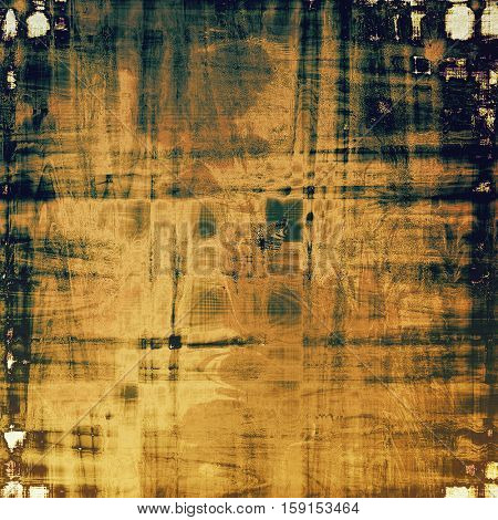 Retro background with vintage style design elements, scratched grunge texture, and different color patterns: yellow (beige); brown; gray; green; blue; black