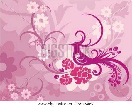 Vector Background with Blumenornamente und einem exotischen Vögeln.