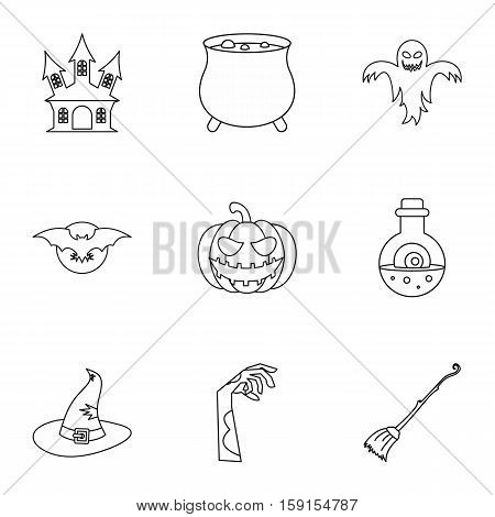 Halloween icons set. Outline illustration of 9 halloween vector icons for web