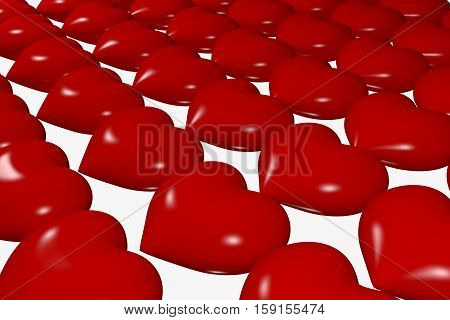 rows of the rendered red glossy hearts in perspective view, 3d rendering