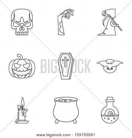 All saints day icons set. Outline illustration of 9 all saints day vector icons for web