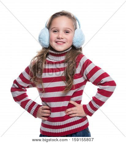 Lovely Smiling Little Girl Wearing Colorful Striped Sweater And Headdress Isolated On White Backgrou