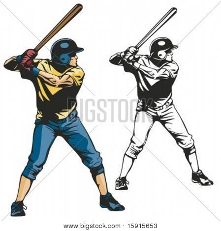 Baseball batter. Vector illustration