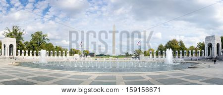 Washington Dc, Usa - October 20, 2016: World War Ii Memorial Monument Full View Panorama