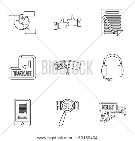 Languages icons set. Outline illustration of 9 language vector icons for web