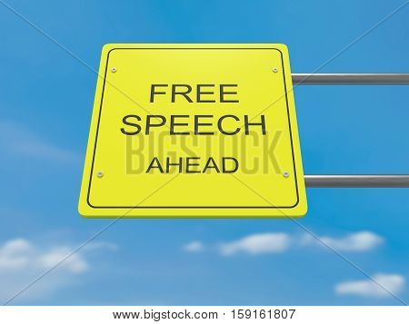 Yellow Road Sign Free Speech Ahead Against A Cloudy Sky 3d illustration