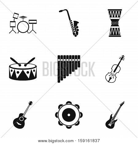Musical instruments icons set. Simple illustration of 9 musical instruments vector icons for web