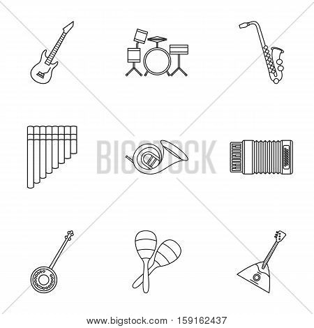Musical instruments icons set. Outline illustration of 9 musical instruments vector icons for web