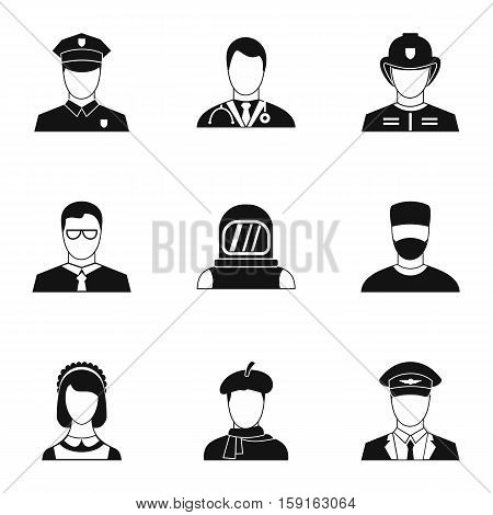 Occupation icons set. Simple illustration of 9 occupation vector icons for web