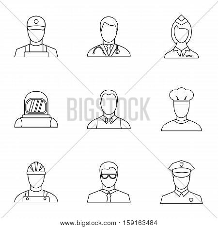 Specialty icons set. Outline illustration of 9 specialty vector icons for web