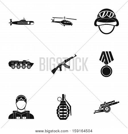 Weapons icons set. Simple illustration of 9 weapons vector icons for web