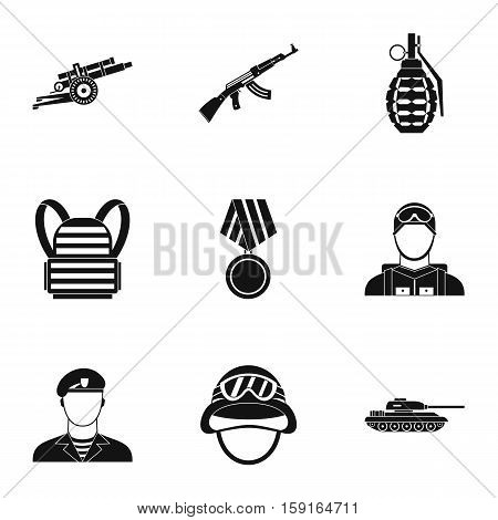 Military weapons icons set. Simple illustration of 9 military weapons vector icons for web