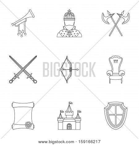 Knight icons set. Outline illustration of 9 knight vector icons for web