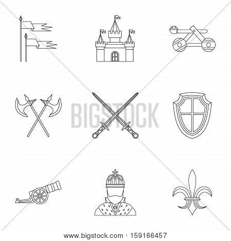 Military armor icons set. Outline illustration of 9 military armor vector icons for web