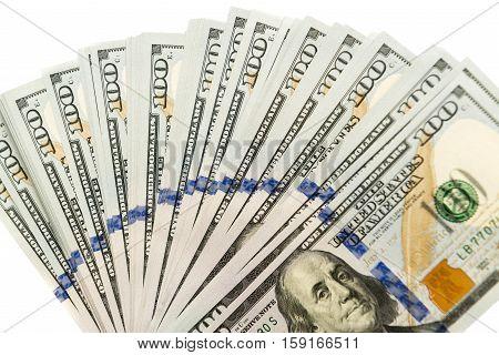Many hundred dollar bills pr bank notes spread