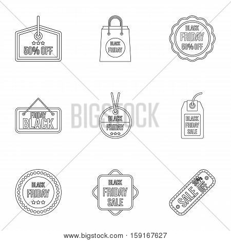 Price down icons set. Outline illustration of 9 price down vector icons for web