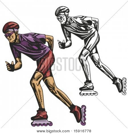 Rollerblading. Vector illustration