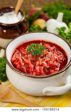 Beetroot Soup. Traditional Russian and Ukrainian national food - Borscht. Selective focus.
