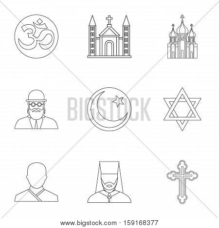 Beliefs icons set. Outline illustration of 9 beliefs vector icons for web