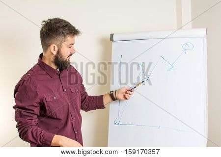 Bearded Man Presenting By The Flipchart