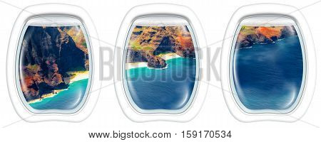 Three plane windows on Na Pali coast, Kauai, Hawaii, United States, from a plane on the porthole windows. Copy space.