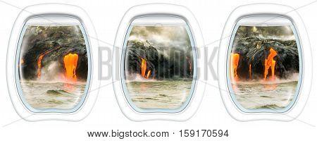 Three plane windows on Kilauea Volcano, Big Island, Hawaii, United States by sunset, from a plane on the porthole windows. Copy space.